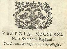 Marca Tipografica Settecentesca della Stamperia Baglioni 1771