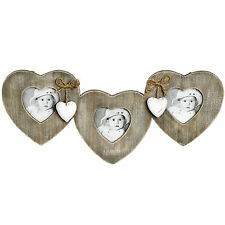 Shabby Chic Rustic Wooden Hanging Three Triple  Heart Photo Frame