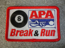 Collectible APA Leagues Break  And Run Sewing Patch Pool Table Stick #8 Ball