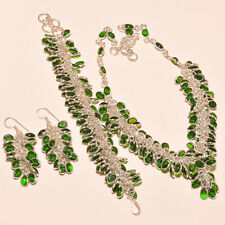NATURAL CHROME DIOPSIDE GEMSTONE  925. SILVER NECKLACES,HANDMADE JEWELRY