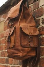 New Genuine Large Leather Back Pack Rucksack Travel Bag For Men's and Women's.