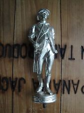 Rare Vtg Brass Minute Man Heavy Trophy Topper Soldier Award Colonial Silver Tone