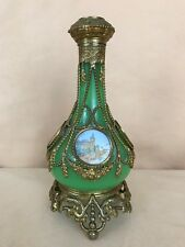 Antique Green Opaline W/ Beaded Bronze Mounted Perfume Bottle 5 Medallions