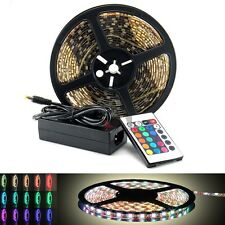 12V/110V 16-Color 5M/16FL RGB 300-SMD LED Light Strip Waterproof Flexible+remote