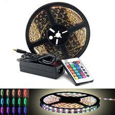 12V/110V 16-Color 5M/16FL RGB 300-SMD LED Light Strip Waterproof Flexible+remote