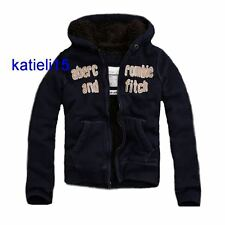 Abercrombie & Fitch Boy's Wolf Jaw Fur Hooded Jacket Navy $140 XL