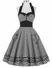 Vintage 50s 60s Women Grid Pattern Housewife Swing Pinup Dress Prom Retro Party