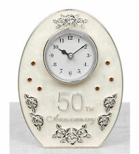 NEW SILVER & IVORY WHITE MARBLED 50TH ANNIVERSARY OVAL CLOCK - RUBY WEDDING GIFT