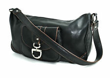 ETIENNE AIGNER BLACK GENUINE LEATHER SHOULDER BAGUETTE HANDBAG EVENING BAG