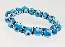 Bracelet for Evil Eye made with elastic. with sky blue eyes
