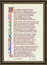"""IF"" by Rudyard Kipling - Calligraphy Print - Motivational Gift for Everyone"