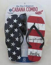 Men's WEMBLEY XL Stars & Stripes FLAG Flip Flops Cabana Combo FREE Sunglasses