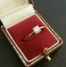 Fine Vintage Art-Deco Style 9CT Yellow Gold Diamond 0.50pt Solitaire Ring Size M