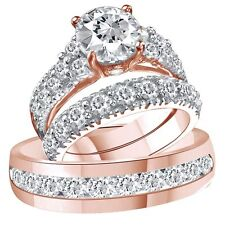10K Solid Rose Gold Over D/VVS1 Diamond Trio Bridal Wedding Ring Band Set