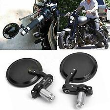"7/8"" Aluminum Rear View Side Mirror Handle Bar End Round Black For Motorcycle"