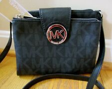 Michael Kors Black MK Signature FULTON Large Crossbody Bag Tote Purse NWT