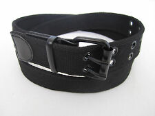 Mens Womens 2-Double Holes Dress Casual Canvas Leather Belt 2Prong Roller Buckle
