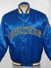 MAJESTIC SEWN MILWAUKEE BREWERS COOPERSTOWN COLLECTION SATIN JACKET MEN'S LARGE