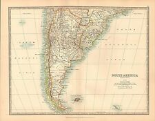 1911 LARGE VICTORIAN MAP ~ SOUTHERN SOUTH AMERICA FALKLAND ISLANDS LAPLATA