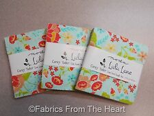 LuLu Lane Floral Flower THREE Charm Packs 5 inch 126-Sqrs Moda COTTON Fabric