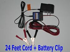 12V DC Battery Tender Maintainer Trickle Charger + 24 Feet Cord + Battery Clip