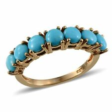 UK L,M SLEEPING BEAUTY TURQUOISE half eternity ring 14K GOLD STERLING SILVER