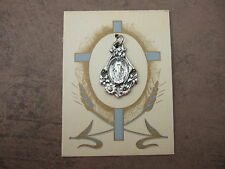 Vintage Catholic Miraculous medal ornate with flowers silver finish NOS