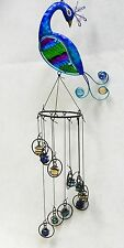"""Peacock Sun Catcher  Metal, Multi Color Fused Glass and Glass Marbles  26"""""""