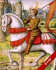 JOAN OF ARC ON HORSE FRENCH HEROINE PAINTING REAL CANVAS ART PRINT