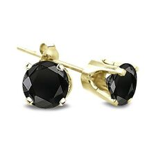 1/2ct TDW Round Treated Black Diamond 14K White or Yellow Gold Stud Earrings