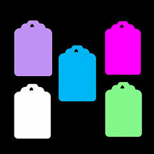 100 Medium Classic Shape Price Tag Labels Display Swing Tickets. All Colours