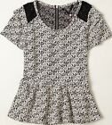 Knitted & Knotted Floral Jacquard Peplum Blouse Sz X-Large NW ANTHROPOLOGIE Tag