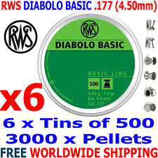 RWS DIABOLO BASIC .177 4.50mm Airgun Pellets 6 (tins)x500pcs (TRAINING) 0,45g