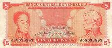 Venezuela  5 Bolivares 9.21.1989  Series J circulated Banknote NS10