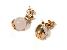 Bijou alliage doré boucles d'oreilles clous quartz rose earrings