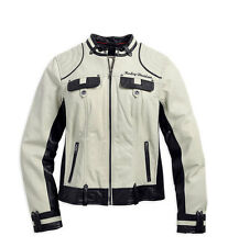 Harley Davidson Women's AMELIA Off White Winged B&S Leather Jacket 98072-14VW L