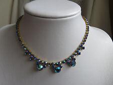 Vintage 1950s Pavo Real Azul Aurora Boreal collar del Rhinestone Fiesta Nupcial