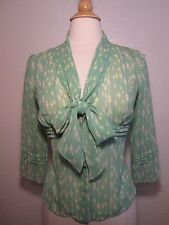 MAX STUDIO MSSP Silk Pale Green Print Scarf Tie Neck Bow Blouse Pintuck Detail S