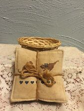 Scented Blue gingham cloth coasters in an apple basket