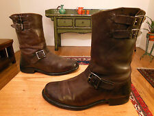 Vtg FRYE Men's Dk. Brown Leather 3 Buckle RAND Engineer, Biker Boots 8.5M USA