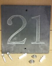 '21'  Slate House Number Door Plaque Sign With Capped Screws