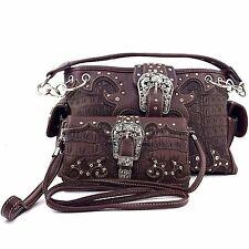 Vintage Buckle Cowgirl Purse Rhinestone Croc Skin Shoulder Handbag Wallet Set BR