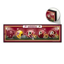 "WASHINGTON REDSKINS HELMET DESIGN THROUGHOUT THE YEARS WOOD SIGN 9""x30"" WINCRAFT"