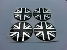 UK / UNION JACK Alloy Wheel Centre Badge Caps 50mm for MINI (black/chrome)