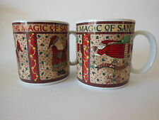 Sakura Magic of Santa Pair of Coffee Mugs Debbie Mumm Christmas Holiday