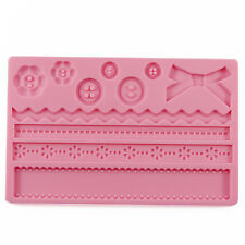 Baroque Buttons / Bows + Zigzags Silicone Fondant Mould Xmas Birthday Cake Mold