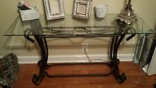 Glass top iron 3 table set. 2 sofa/buffet tables and 1 coffee table. Whiting, IN