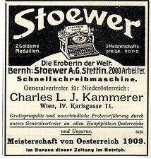 Bernh. Stoewer Stettin / Wien Schnellschreibmaschine Historische Annonce 1909