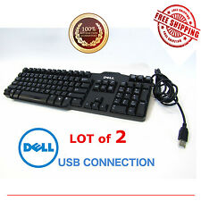 (LOT of 2) BLACK DELL USB WIRE KEYBOARD L100 OR SK-8115 Genuine OEM