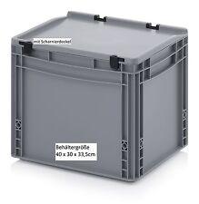 AufbewahrungsKiste mit Scharnier-Deckel 40x30x33,5 Allzweck Boxen robust stabil